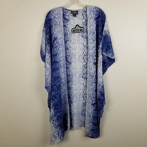 ANGIE - blue snake print kimono coverup